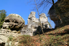 Rock formations in the Bohemian Paradise Geopark Stock Photos
