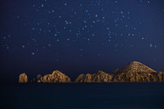 Rock formations in Cabo San Lucas at night Stock Image