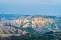 Rock formations called `Calanchi` near Civita di Bagnoregio. Province of Viterbo, Lazio, Italy. stock photos