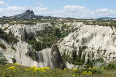 Rock formations of Cappadocia near Uchisar Stock Images