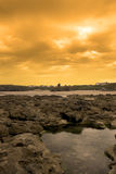 Rock formations with castle at sunset Stock Photography