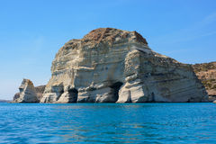 Rock formations with caves at Kleftiko, Melos Greece royalty free stock photos