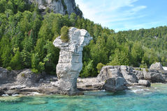 Rock Formations at the Coast, Flowerpot Island Royalty Free Stock Image
