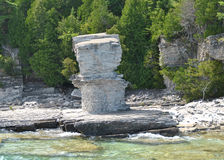 Rock Formations at the Coast, Flowerpot Island Royalty Free Stock Images