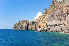 Rock formations at the coast of Lipari Island. Aeolian Islands, Italy Royalty Free Stock Images