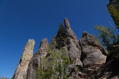 Rock Formations in Custer State Park. Eroded rock formations and trees stand tall against a clear blue spring sky in Custer State Park, South Dakota royalty free stock photos