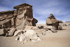 Rock formations of Dali desert in Bolivia Royalty Free Stock Photography