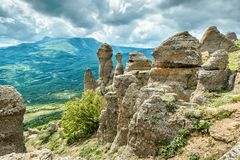 Rock formations of the Demerdji mountain, Crimea Stock Images