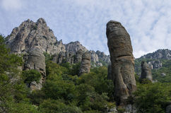 The rock formations of the Demerdji mountain. Valley of Ghosts. Stock Photo