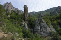 The rock formations of the Demerdji mountain. Valley of Ghosts. Stock Images