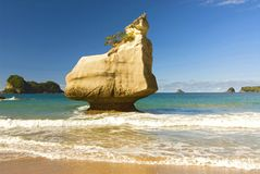 Rock formations and fine sandy beach at Cathedral Cove on the Coromandel Peninsula in New Zealand, North Island. White limestone rock formations and fine sandy royalty free stock photos