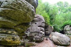 Rock formations at High Rocks, Tunbridge Wells, Kent, UK Stock Image