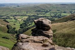 Rock formations at Hope Valley in the Peak District National Park, Derbyshire.  Royalty Free Stock Photography