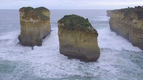 Rock formations inside Loch Ard Gorge. Australia stock video footage