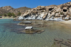 Rock formations in kolymbithres beach, Paros island, Cyclades Stock Photos