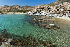 Rock formations in kolymbithres beach, Paros island, Cyclades Royalty Free Stock Photography