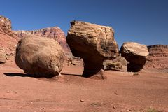 Rock Formations, Lees Ferry. Mushroom shaped rocks dot the landscape near Lees Ferry Landing along the Colorado River Stock Image