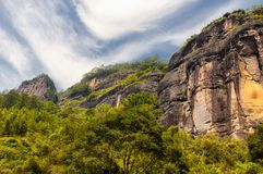 Wuyishan rocky cliffs china. Rock formations lining the nine bend river or Jiuxi in Wuyishan or Mount wuyi scenic area in Wuyi China in fujian province stock photography