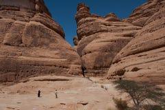 Rock formations in Madaîn Saleh, Saudi Arabia Royalty Free Stock Photography