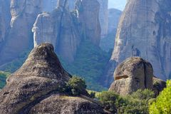Rock formations are a main part in the beautiful landscape of Meteora, Greece with its monasteries, its mountains and its nature. Rock formations are a main part royalty free stock images