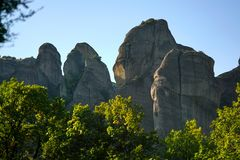 Rock formations are a main part in the beautiful landscape of Meteora, Greece with its monasteries, its mountains and its nature. Rock formations are a main part royalty free stock image
