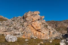 Rock formations at the Maltese Cross. Near Dwarsrivier in the Cederberg Mountains of the Western Cape Province stock images