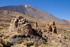 Rock formations and Mount Teide Stock Photos
