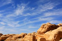 Petra in Jordan. Rock formations in the nabatean city of Petra in Jordan Stock Images