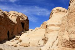 Petra in Jordan. Rock formations in the nabatean city of Petra in Jordan Royalty Free Stock Image