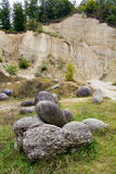 Rock formations. Named trovants in Romania,near Costesti village Royalty Free Stock Images