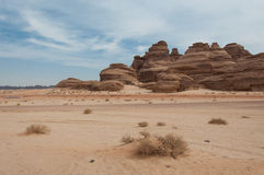 Rock formations near Al-Ula in the deserts of Saudi Arabia Royalty Free Stock Photo