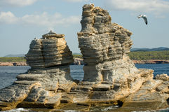 Rock formations near Ibiza island Royalty Free Stock Images