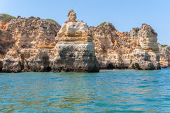 Rock formations near Lagos seen from the water Royalty Free Stock Image