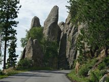 Rock formations at Needle\'s Eye, Needle\'s Highway, South Dakota. Approaching the Needle\'s Eye tunnel entrance, an opening created by the elements of nature at stock photo