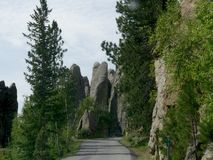 Rock formations at Needle\'s Eye, Needle\'s Highway, South Dakota. Breathtaking view at Needles Highway in South Dakota stock images