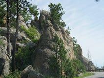 Rock formations at Needle\'s Eye, Needle\'s Highway, South Dakota. Close upward shot of incredible rock formations along Needles Highway in South Dakota royalty free stock photo