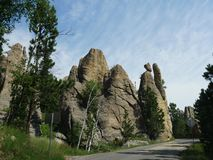 Rock formations at Needle\'s Eye, Needle\'s Highway, South Dakota. Medium close up of incredible rock formations at Needles Highway in South Dakota royalty free stock photos