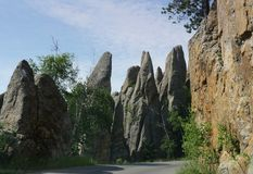 Rock formations at Needle\'s Eye, Needle\'s Highway, South Dakota. Row of dramatic rock formations near the Needle\'s Eye tunnel entrance at Needles Highway in stock photo