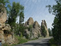 Rock formations at Needle\'s Eye, Needle\'s Highway, South Dakota. Scenic drive with incredible rock formations at Needles Highway in South Dakota royalty free stock photography