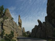 Rock formations at Needle\'s Highway, South Dakota. Spectacular rock formations and granite rock towers along the winding road at Needles Highway in South Dakota stock photo