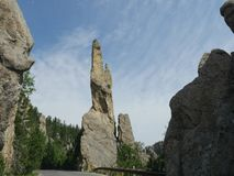 Rock formations at Needle\'s Highway, South Dakota. Stunning rock formations and granite rock towering above Needles Highway in South Dakota stock photo