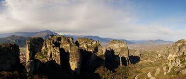 Rock formations and orthodox monasteries in Meteora, Greece. stock images