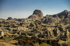 Rock formations in Park Isalo, Madagascar. Interesting and massive rock formations in Park National Isalo in Madagascar royalty free stock photography