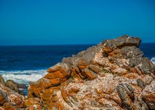 Rock formations on part of the Otetr Trail on the Indian Ocean Royalty Free Stock Photo