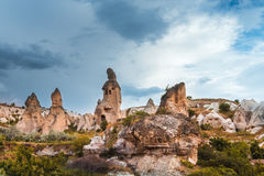 Rock formations in Pigeon Valley of Cappadocia Royalty Free Stock Photos