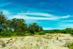 Rock formations and river sand on the Shoalhaven River near Braidwood. NSW, Australia Royalty Free Stock Images
