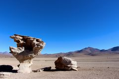 Rock formations on the  Salar de Uyuni desert Royalty Free Stock Images