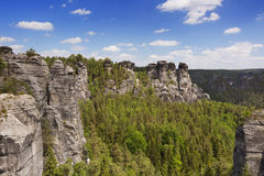 Rock formations in the Saxon Switzerland in Germany Royalty Free Stock Photography