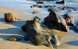 Rock formations on the shore in Laguna Beach, California. Stock Photography