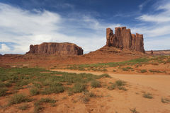 Rock formations on a sunny blue day in Monument Valley, America Stock Photo